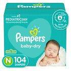 Pampers Baby Dry Disposable Diapers *Newborn, 1, 2, 3, 4, 5, 6 * You Choose