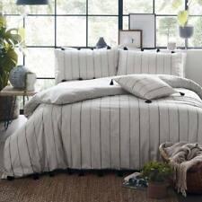 100% Cotton Delta Pin Stripe & Tassels White Duvet Quilt Cover Bedding Set