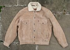 VINTAGE LEVI'S Marrone in Pelle e pelle scamosciata Sherpa Foderato Western Giacca Camionista Giacca S/M