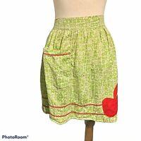 Vintage Mid Century Modern Half Apron 1950s Red Apple Green Print Handmade