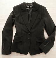 wie NEU!!! H&M Stretch Blazer Jacke Gr. 34 schwrz feine beige Streifen