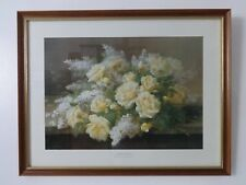 Botanical Print 19th Century Artist Raoul M de Longpre Harmony In Yellow Large