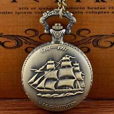 Antique Bronze USS Constitution Pocket Watch Quartz Necklace Chain Pendant Gift