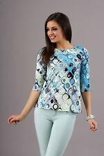Unique & Trendy Women's Top Casual 3/4 Sleeve Pattern Blouse Crew Neck FA275