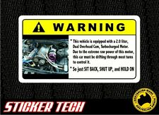 WARNING TURBO RB20 ENGINE STICKER DECAL TO SUIT NISSAN NISMO SKYLINE R32 GTS