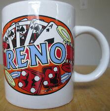Reno Coffee Mug 2004 Gambling Cards Dice Poker NV Nevada Souvenir