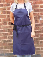Waterproof Apron in Navy Flourocoated Polyester / Cotton