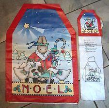 514  Daisy Kingdom Noel Christmas Bunny Cut & Sew Childrens AND Dolls Apron Set