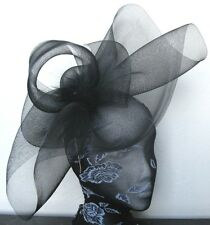 black feather fascinator millinery burlesque headband wedding hat hair piece