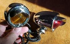 S.S. VISOR STYLE SIGNAL / MARKER LIGHTS. Chrome PAIR.