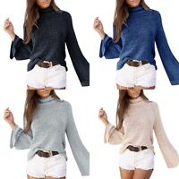 New Women Casual Long Sleeve Knitted-Pullover Loose Sweater Jumper Tops Knitwear
