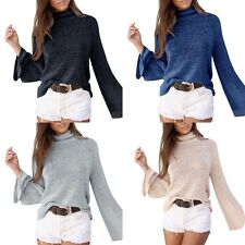 New Womens Long Flare Sleeve Knitted Pullover Loose Sweater Jumper Tops K Gift