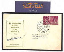 MS2606* 1948 EIRE FDC SIGNED DESIGNER *Karl Uhlemann* RARE 1798 Rebellion Cover