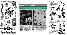 3 Sets Summer Holiday Stamps - Hibiscus, Palm Trees, Tropical Paradise, Beach