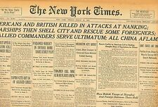 Americans & British Killed in Nanking Warships Shell City Rescue Foreigners B11