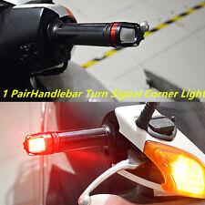 1Pair Motorcycle Handlebar Turn Signal Grip Bar End LED Strobe Side Marker light