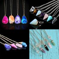 Gemstones Natural Crystal Quartz Healing Point Chakra Stone Pendant Necklace S8