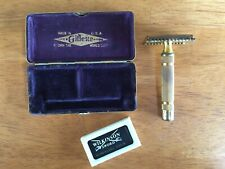 GILLETTE TRAVEL SAFETY RAZOR & CASE VINTAGE DOUBLE EDGE GOLD OR BRASS FINISH