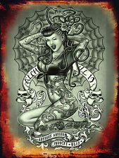 ALCHEMY GOTH WINK EVIL EYE EURYALE TATTOO SNAKE HAIR GOTHIC LADY METAL WALL SIGN