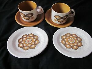 ROYAL WORCESTER PALISSY KALABAR DOUBLE TRIO 1970's CUPS SAUCERS & PLATES 6 ITEMS