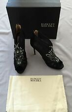NEW BADGLEY MISCHKA 'LIANNA' BLACK MESH BOOTIES HEEL 10M US 10 JEWELLED DETAIL