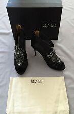 Badgley Mischka 'lianna' Black Mesh BOOTIES Heel 10m US 10 Jewelled Detail