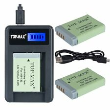 TOP-MAX 2x NB-13L Battery + Charger for Canon PowerShot G5X G7X Digital Camera