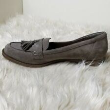 Crown Vintage Gray Suede Slip-On Loafers With Tassels Women's Size 9M