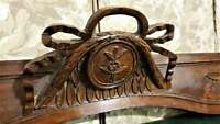 Large bow ribbon flower carving pediment antique french architectural salvage