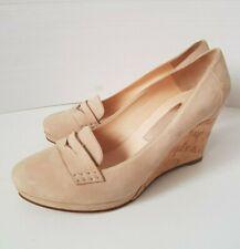 Nando Muzi NEW Women's Shoes Cork Wedge Suede Nude Size 40 EU 9 US 7 UK