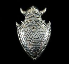 Solid 925 Sterling Silver Viking Valknut Shield Pendant, Knot of Slain Warriors