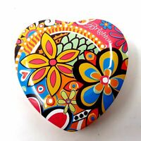 Brighton Heart Shaped Collectible Tin Metal  Storage Container w/ Retro Flowers