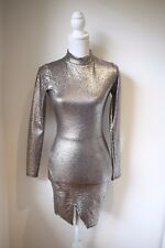 Missguided: Exclusive Gold Metallic High Neck Mini Dress, Size 8 NEW