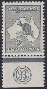 2d Grey JBC monogram Kangaroo. 1st wmk, well centred, fresh MVLH. BW 5(2)c