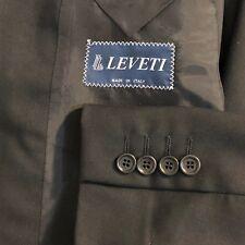 Leveti Italian luxury double breasted black 2 piece suit men size 42L pant 32x31