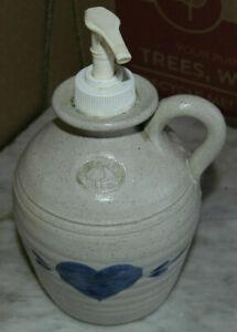 Vintage Stoneware Blue Heart Soap Dispenser Jug Pottery