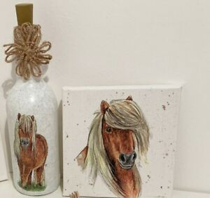 Light up bottle, country home, Horse, pony decor set, small canvas and Bottle