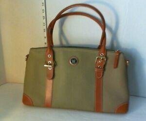 Dooney & Bourke Dark Olive and Brown  buckle strap leather zipper purse satchel