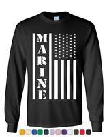 Marine Flag Military Long Sleeve T-Shirt Patriot Stars & Stripes POW MIA Tee