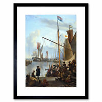 Painting Seascape Dock Bakhuizen Mussel Pier Amsterdam Framed Print 12x16 Inch