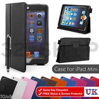 Book PU Leather Flip Book Case for Apple iPad Mini + Screen Protector & Stylus
