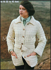 Vintage Knitting Pattern • Ladies Textured Chunky Belted Jacket with Pockets