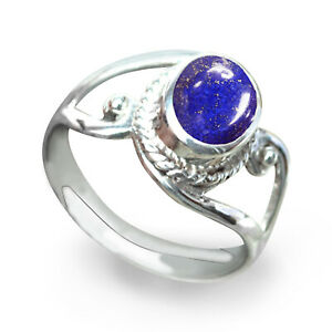 925  Silver Natural  Certified 2.25 Carat Lapis Oval Shape Handmade Ring