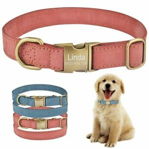 Leather Personalised Dog Collar Pet Custom Engraved Tag Name Heavy Duty Buckle