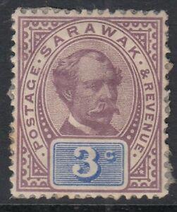 Sarawak 1888  3c Purple & Blue  SG.10  Mint no gum