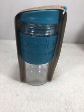 Bodum Double Wall Thermal Travel Mug  12 Oz. Clear Tumbler W/ Sleeve Aqua Color