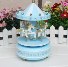 Home Decoration Wind Up Horse Fairground Roundabout Carousel Musical Box Blue