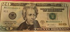 us paper money 20.00 fancy trinary serial / ink blot on jacksons nose super five