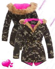 NEW PINK FUR PARKA COAT GIRLS FLEECE JACKET HOODED Padded AGE 6 7 8 9 10 11 12
