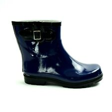 Womens Mid Calf Rubber Rain Boots Size 7 Pull On Side Buckle Navy NEW